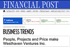People, Projects and Price make Westhaven Ventures Inc.