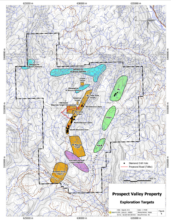 Prospect Valley Exploration Target Zones